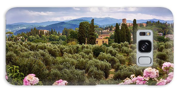 Tuscan Landscape With Roses And Mountains In Florence, Italy Galaxy Case
