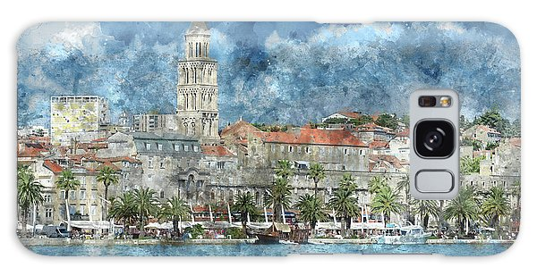 City Of Split In Croatia With Birds Flying In The Sky Galaxy Case