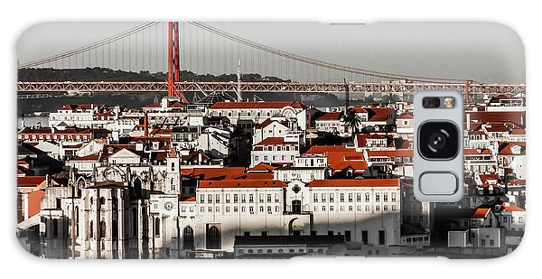 Lisbon In Black, White And Red Galaxy Case