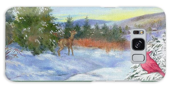 Classic Winterscape With Cardinal And Reindeer Galaxy Case