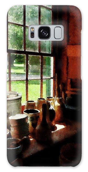 Clay Jars On Windowsill Galaxy Case by Susan Savad