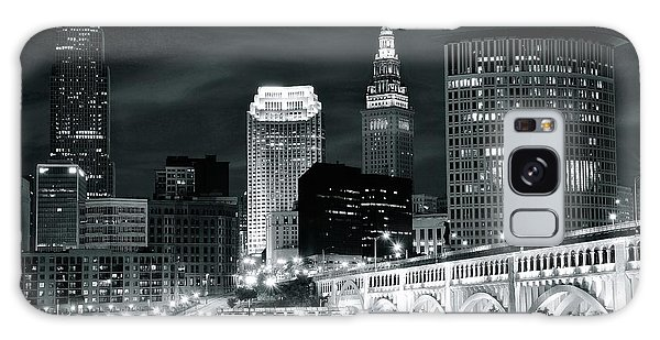 Cleveland Iconic Night Lights Galaxy Case by Frozen in Time Fine Art Photography
