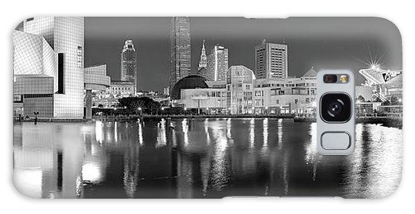 Cleveland Skyline At Dusk Black And White Galaxy Case