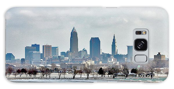 Cleveland Skyline In Winter Galaxy Case