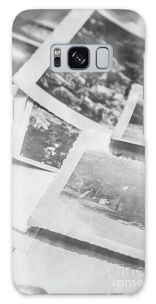 Close Up On Old Black And White Photographs Galaxy Case
