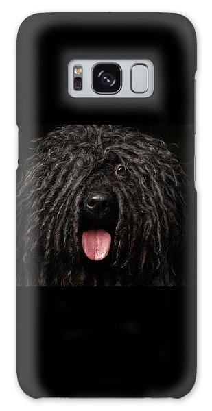 Close Up Portrait Of Puli Dog Isolated On Black Galaxy Case by Sergey Taran