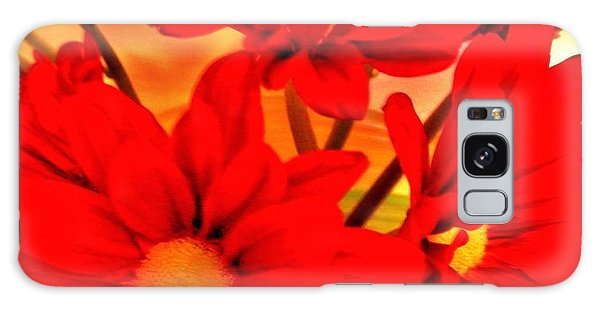 Close Up Red Gerbers Galaxy Case by Marsha Heiken