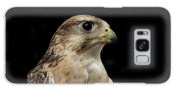 Close-up Saker Falcon, Falco Cherrug, Isolated On Black Background Galaxy Case
