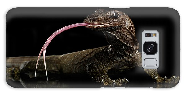 Close-up Varanus Rudicollis Isolated On Black Background Galaxy Case by Sergey Taran