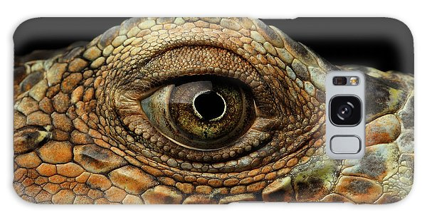 Closeup Eye Of Green Iguana, Looks Like A Dragon Galaxy Case by Sergey Taran