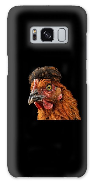 Closeup Ginger Chicken Isolated On Black Background In Profile View Galaxy Case