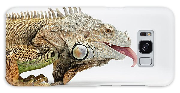Closeup Green Iguana Showing Tongue On White Galaxy Case