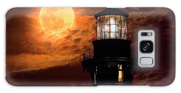 Closeup Of Full Moon Rising Over St Augustine Lighthouse Galaxy Case
