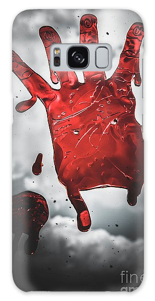 Nightmare Galaxy Case - Closeup Of Scary Bloody Hand Print On Glass by Jorgo Photography - Wall Art Gallery
