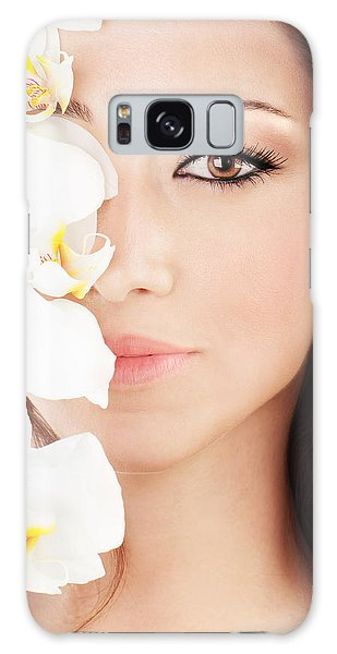 Closeup On Beautiful Face With Flowers Galaxy Case