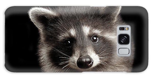 Closeup Portrait Cute Baby Raccoon Isolated On Black Background Galaxy Case