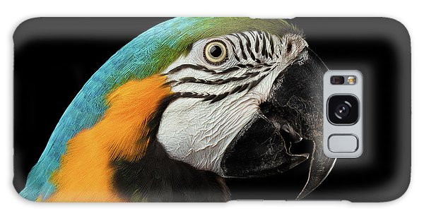 Closeup Portrait Of A Blue And Yellow Macaw Parrot Face Isolated On Black Background Galaxy Case