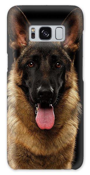 Closeup Portrait Of German Shepherd On Black  Galaxy Case