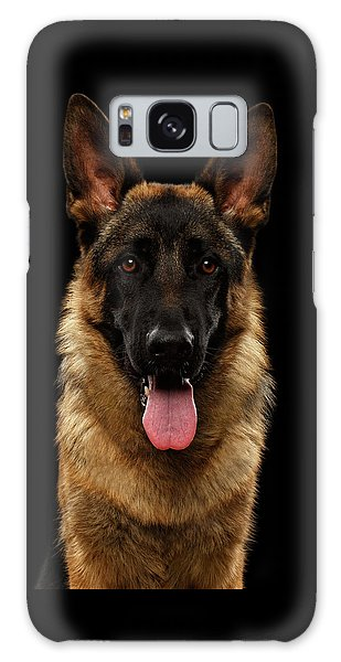 Closeup Portrait Of German Shepherd On Black  Galaxy Case by Sergey Taran
