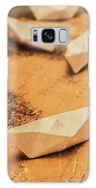 Navigation Galaxy Case - Closeup Toned Image Of Paper Boats On World Map by Jorgo Photography - Wall Art Gallery