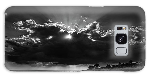 Clouds Over Sanibel Island Florida In Black And White Galaxy Case