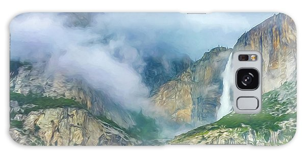 Cloudy Day At Yosemite Falls Digital Watercolor Galaxy Case