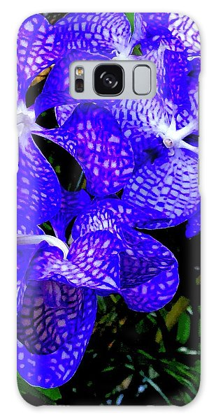 Cluster Of Electric Blue Vanda Orchids Galaxy Case