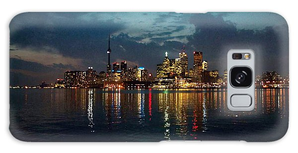 Cn  Tower And Toronto Down Town Water Front Beauty At Night Full Blast Photo Galaxy Case