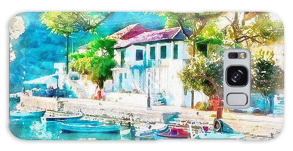 Coastal Cafe Greece Galaxy Case