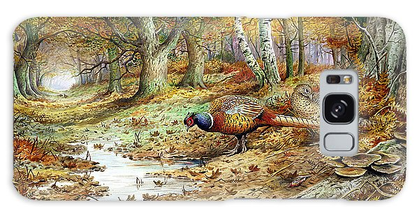 Pheasant Galaxy S8 Case - Cock Pheasant And Sulphur Tuft Fungi by Carl Donner