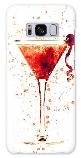 Martini Galaxy Case - Cocktail Drinks Glass Watercolor Red by Michael Tompsett