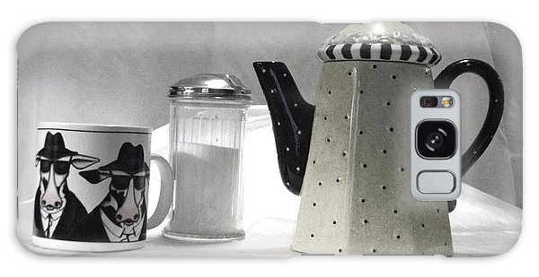 Coffee In Black And White Galaxy Case by Donna Dixon