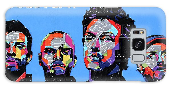 Coldplay Band Portrait Recycled License Plates Art On Blue Wood Galaxy Case