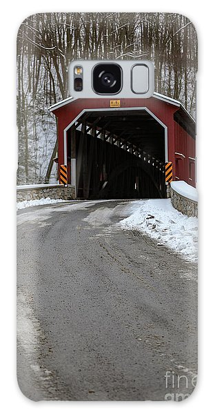 Colemansville Covered Bridge After Winter Snow Galaxy Case
