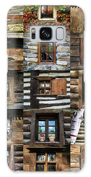 Collage From Handmade Traditional Wooden  Windows In Village Museum Bucharest Galaxy Case