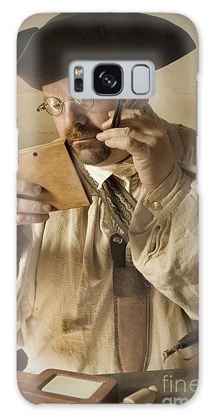 Colonial Man Shaving Galaxy Case by Kim Henderson