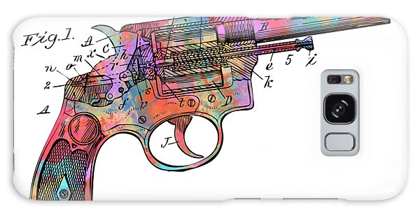 Weapons Galaxy Case - Colorful 1896 Wesson Revolver Patent by Nikki Marie Smith