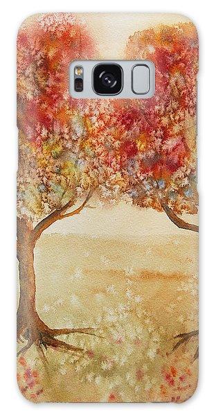 Colorful Autumn Twin Trees Galaxy Case by Kerri Ligatich