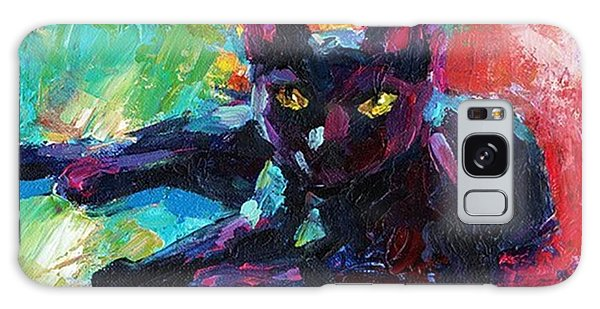 Colorful Black Cat Painting By Svetlana Galaxy Case