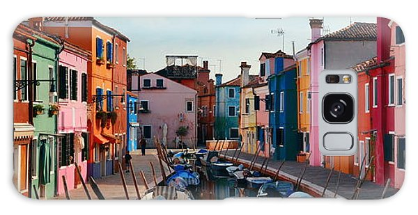 Galaxy Case featuring the photograph Colorful Burano Canal Panorama View by Songquan Deng