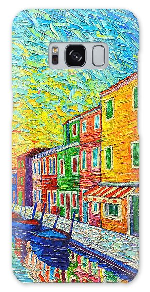 Colorful Burano Sunrise - Venice - Italy - Palette Knife Oil Painting By Ana Maria Edulescu Galaxy Case