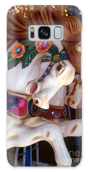 colorful carousel horse photograph - Romping Redhead Galaxy Case