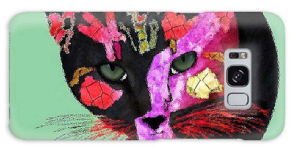Colorful Cat Abstract Artwork By Claudia Ellis Galaxy Case by Claudia Ellis