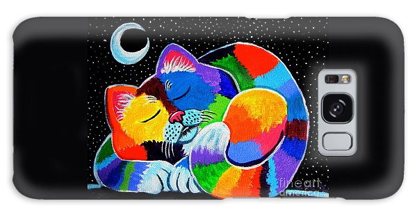 Colorful Cat In The Moonlight Galaxy Case by Nick Gustafson