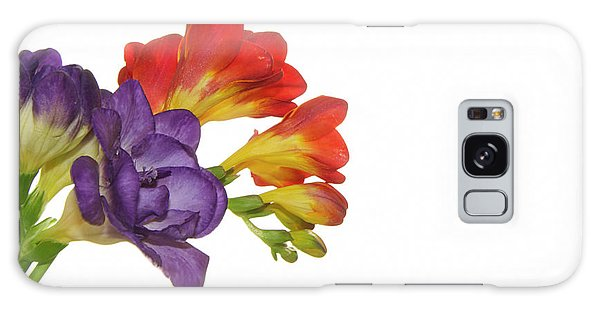 Colorful Freesias Galaxy Case by Elvira Ladocki