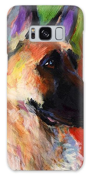 Colorful German Shepherd Painting By Galaxy Case