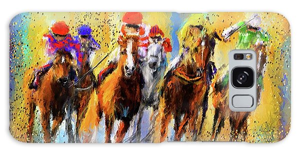Colorful Horse Racing Impressionist Paintings Galaxy Case