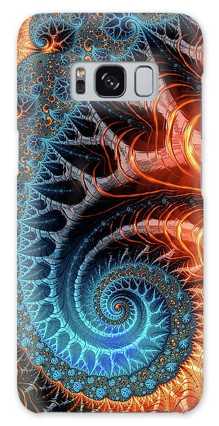 Colorful Luxe Fractal Spiral Turquoise Brown Orange Galaxy Case