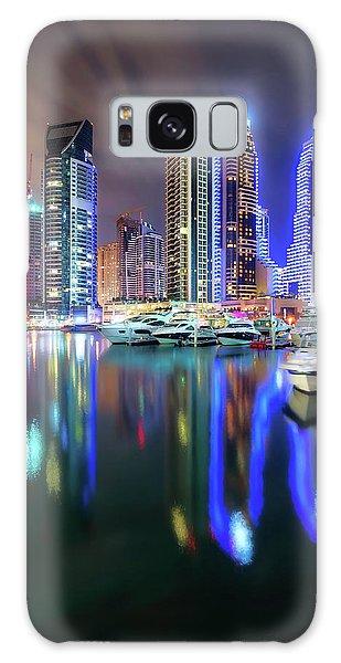 Colorful Night Dubai Marina Skyline, Dubai, United Arab Emirates Galaxy Case