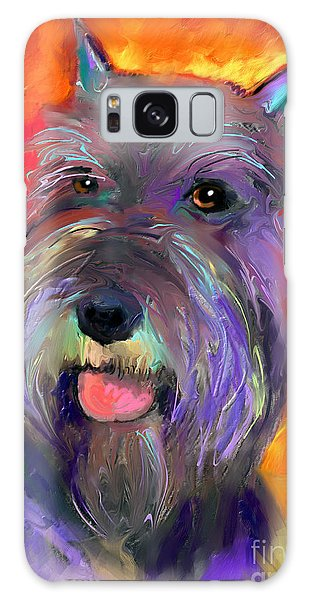 Colorful Schnauzer Dog Portrait Print Galaxy Case